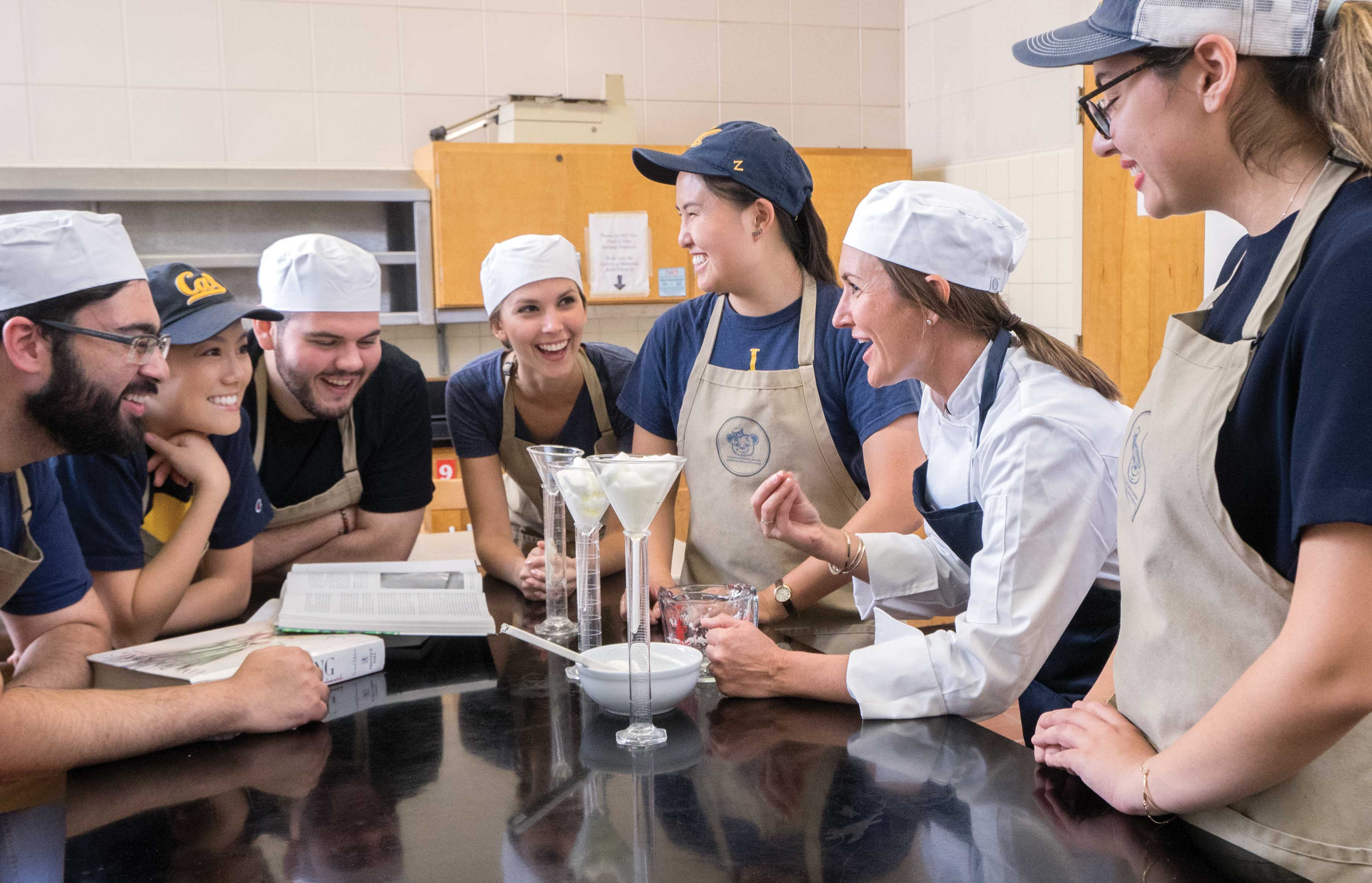 A food science class in the Cal Teaching Kitchen