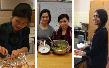 three side-by-side photos of student cooking and preparing meals