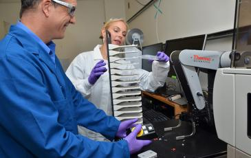Screening scientist Eddie Wehri and CEND executive director Julia Schaletzky in the UC Berkeley Drug Discovery Center, which is helping researchers find potential treatments for COVID-19.